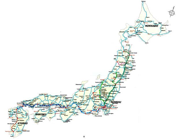 日本全国铁路地图