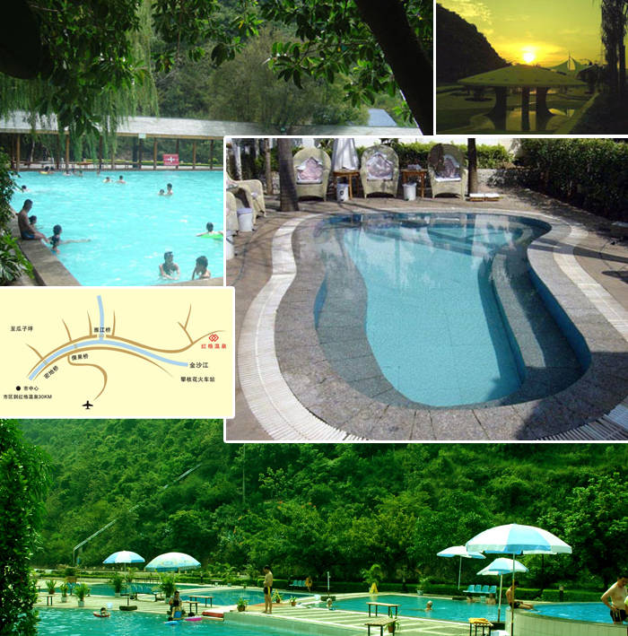温泉设有室内和露天泡池,有特色的洗浴方式木桶浴.