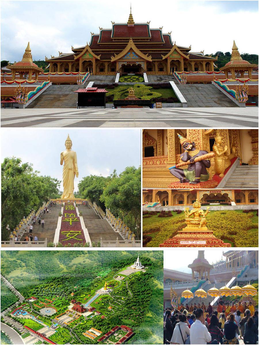 """勐泐大佛寺是在古代傣王朝的皇家寺院""""景飘佛寺""""的原址上恢复重建的,"""""""