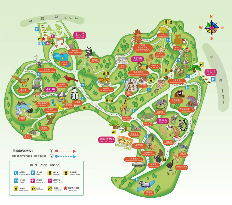 南京红山森林动物园导览地图 @南京红山森林动物园官网