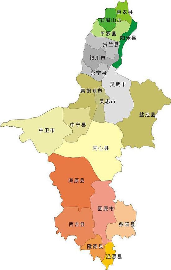 宁夏回族自治区行政区划图