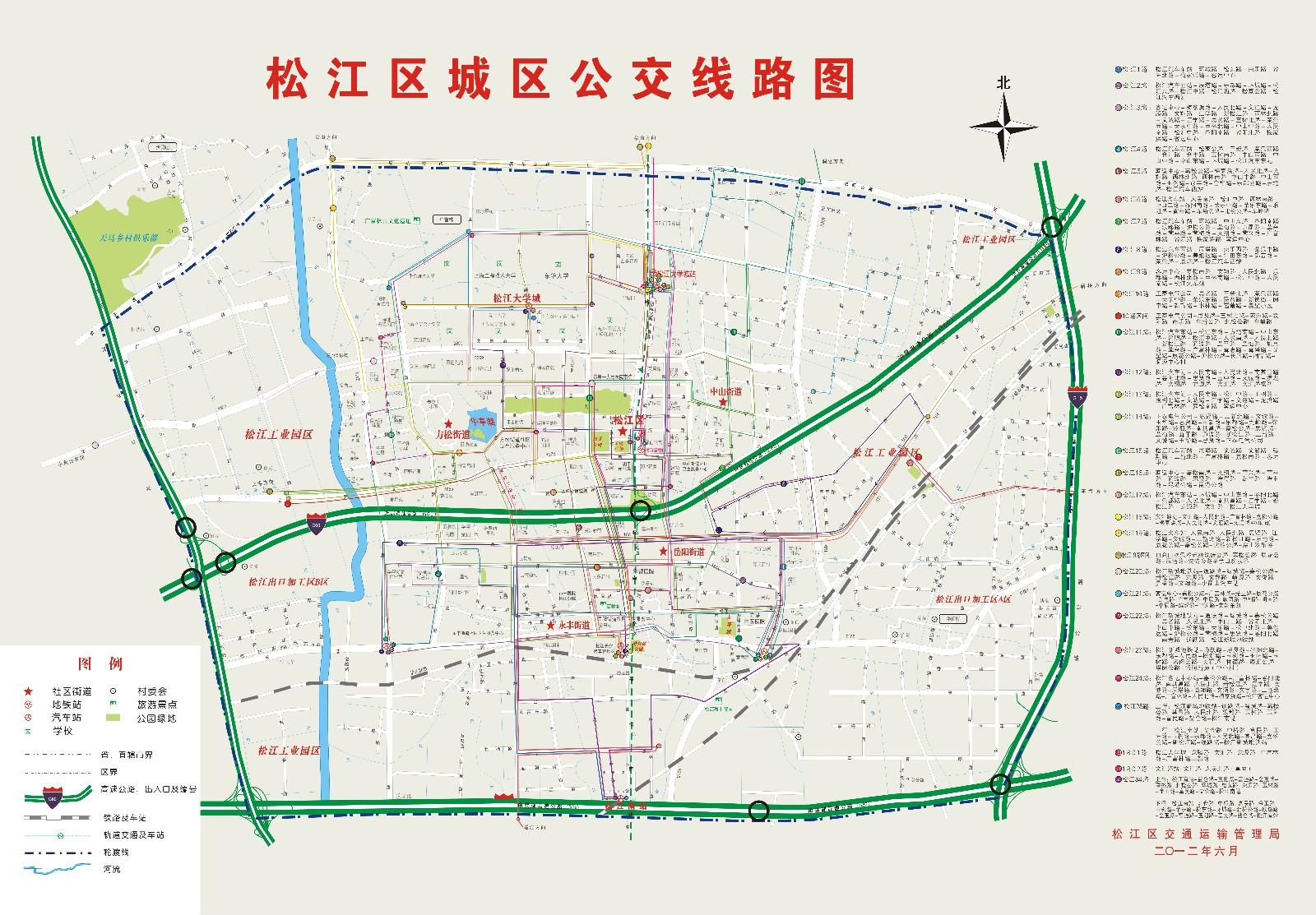 松江區城區公交線路圖 @松江公交有限公司官網