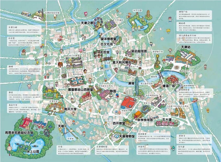 天津手绘地图@攻略频道
