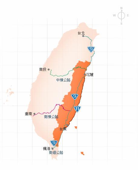 花东海岸公路自驾线路图