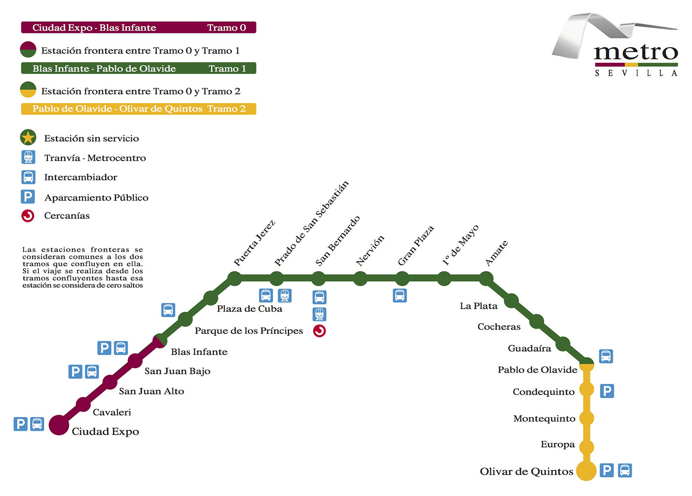 塞维利亚地铁导览图 @塞维利亚地铁官网