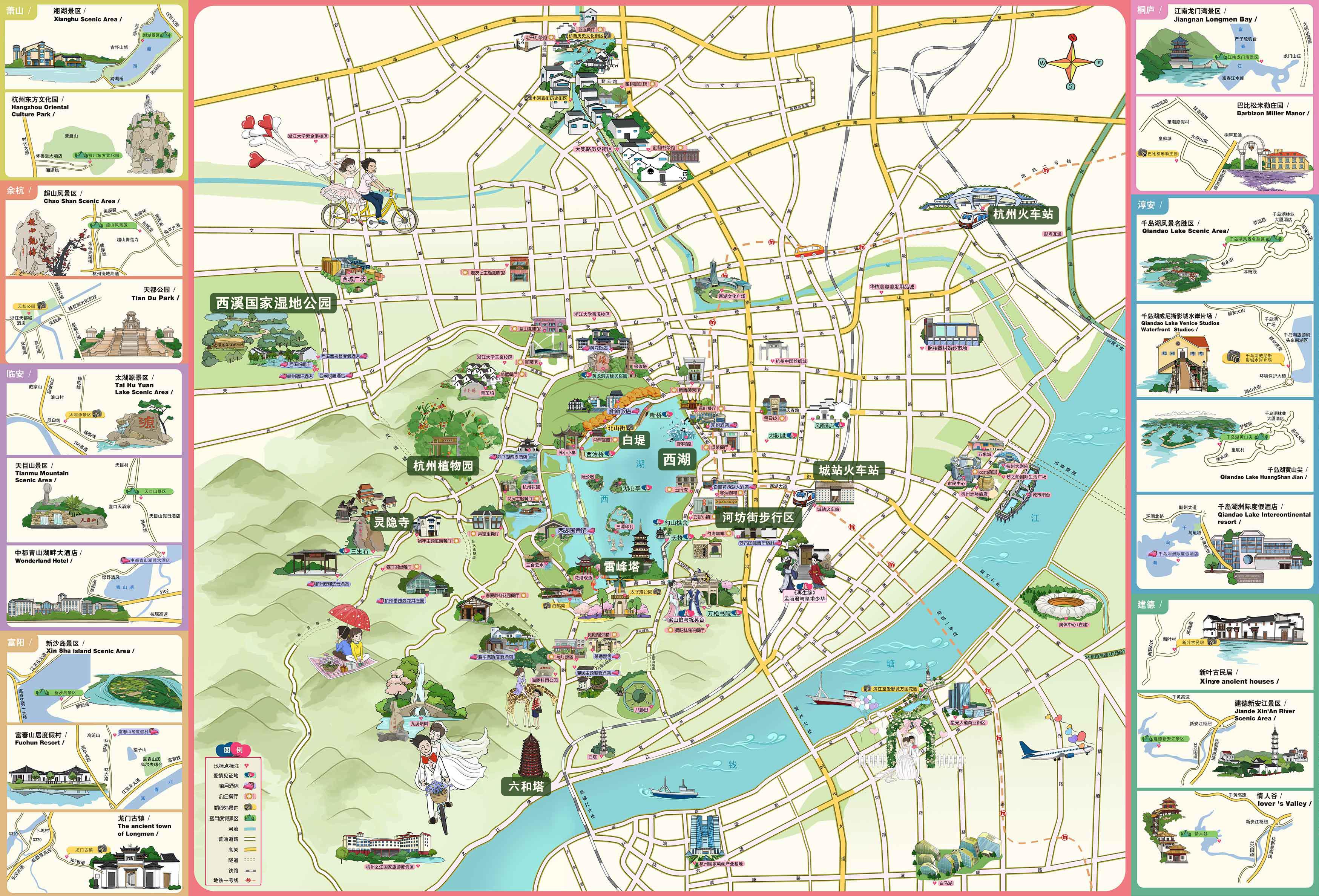 杭州景点导览图@攻略频道