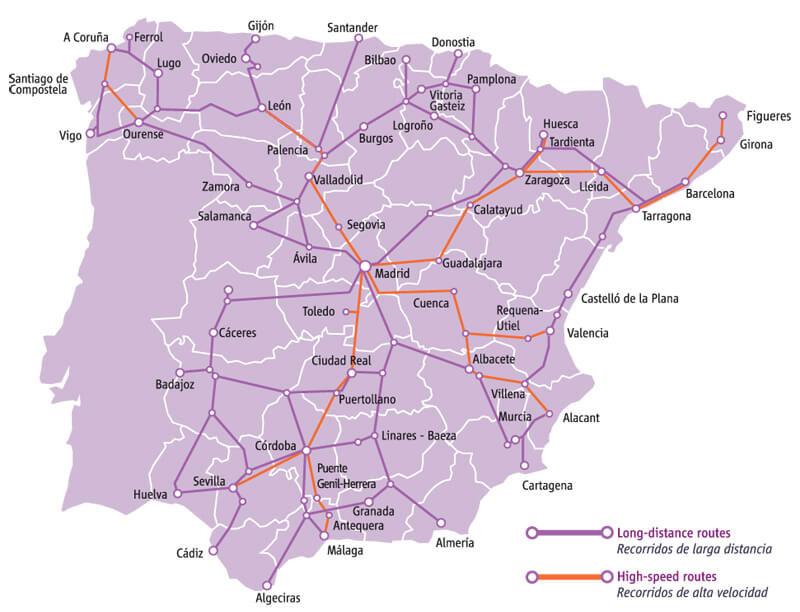 西班牙高速铁路和长途火车运行图 @西班牙旅游局官网