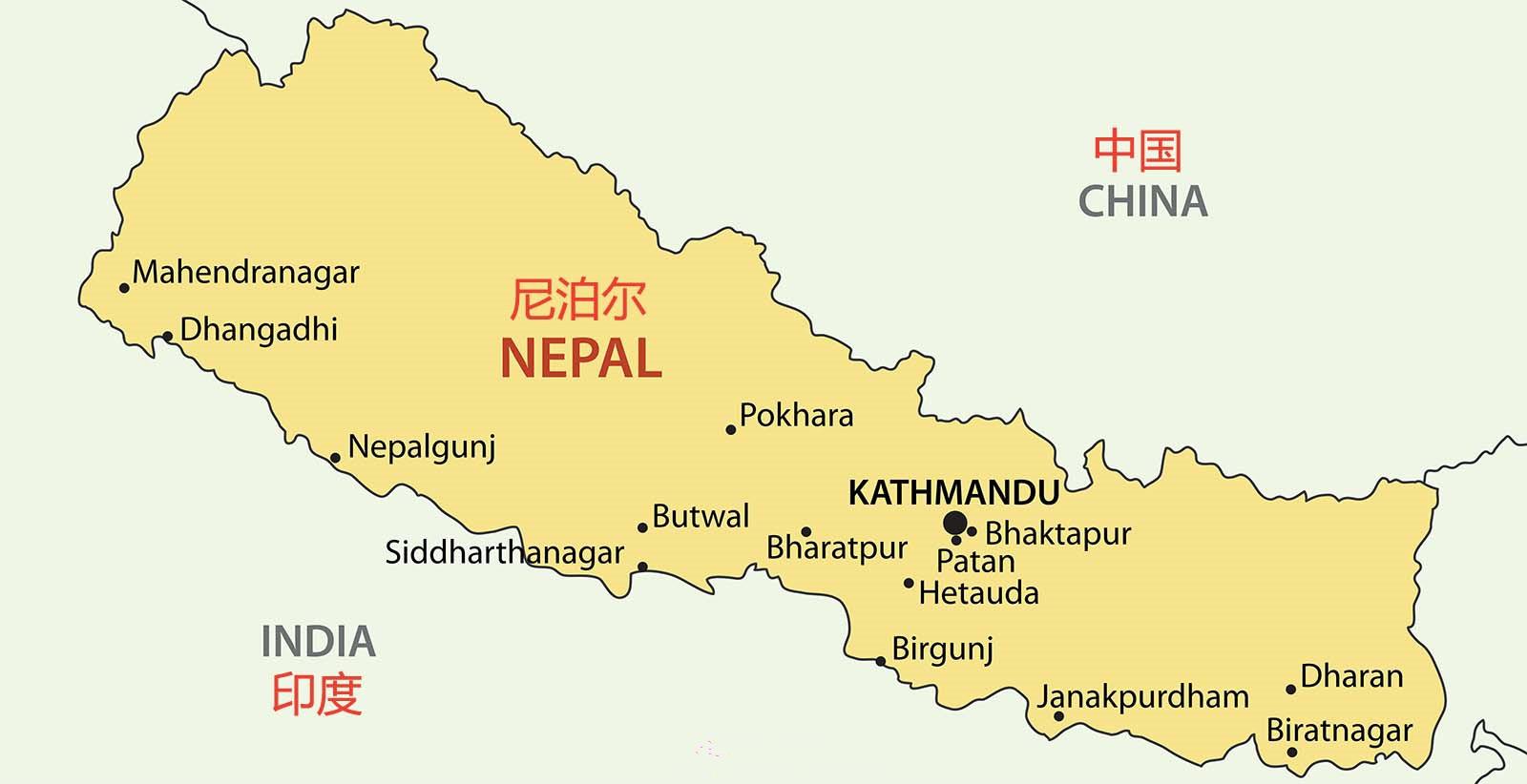 尼泊尔地理位置图