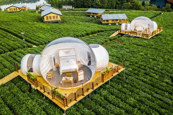 【我是达人】常州茅山宝盛园里有了可以浪漫看星空的透明泡泡屋