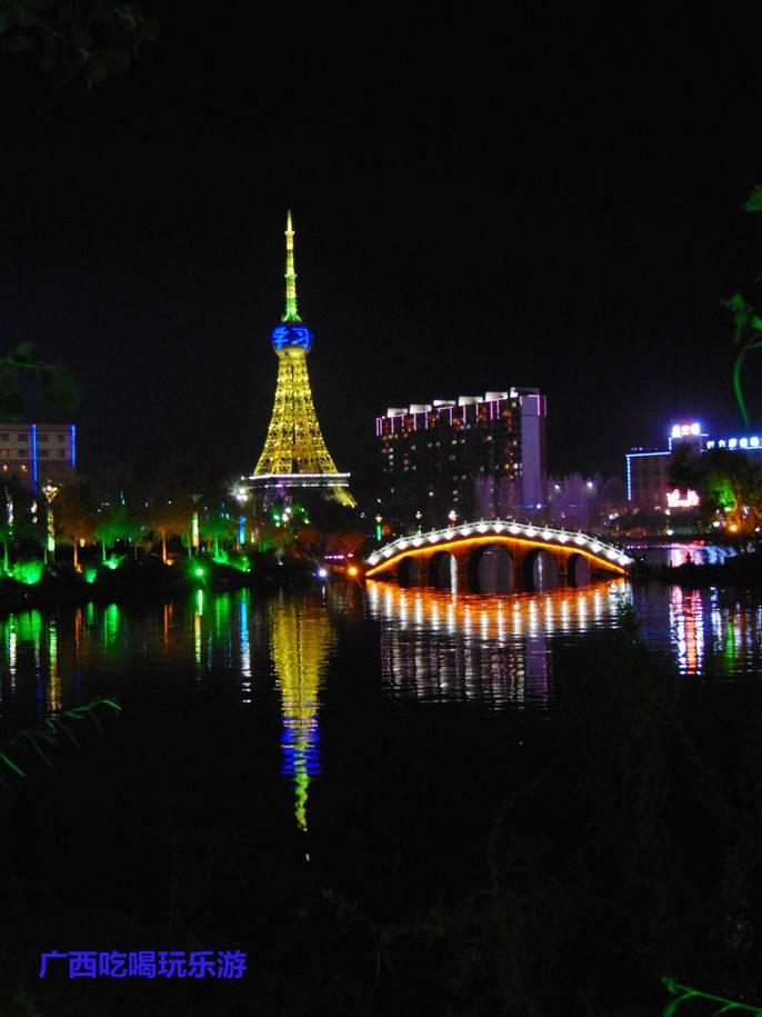 """【我是达人】新疆巴楚县喀什河滨河公园和西北第一高""""埃菲尔铁塔""""的灯光秀"""