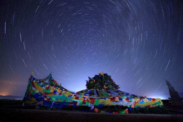 深夜在茶卡盐湖等星来